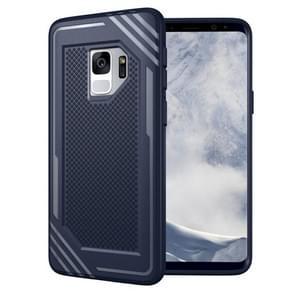 Voor Samsung Galaxy S9 Lattice structuur TPU Shockproof beschermings Back Cover hoesje(blauw)