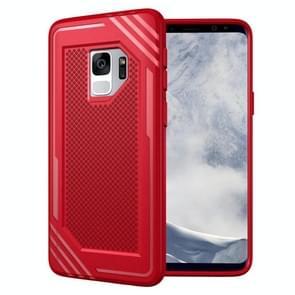Voor Samsung Galaxy S9 Lattice structuur TPU Shockproof beschermings Back Cover hoesje(rood)
