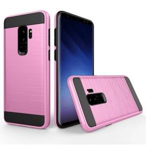 Voor Samsung Galaxy S9+ Geborstelde structuur Dropproof beschermings Back Cover hoesje (roze)