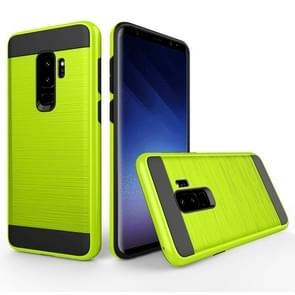 Voor Samsung Galaxy S9+ Geborstelde structuur Dropproof beschermings Back Cover hoesje (groen)