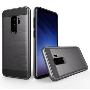 Voor Samsung Galaxy S9+ Geborstelde structuur Dropproof beschermings Back Cover hoesje (grijs)