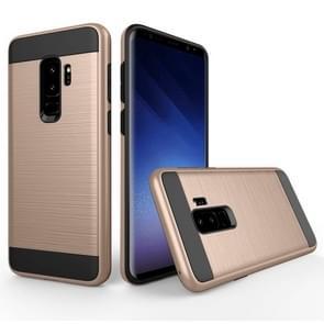 Voor Samsung Galaxy S9+ Geborstelde structuur Dropproof beschermings Back Cover hoesje (Goud)
