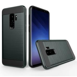 Voor Samsung Galaxy S9+ Geborstelde structuur Dropproof beschermings Back Cover hoesje (Navy blauw)