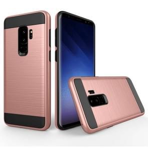 Voor Samsung Galaxy S9+ Geborstelde structuur Dropproof beschermings Back Cover hoesje (Rose Goud)