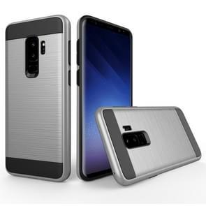 Voor Samsung Galaxy S9+ Geborstelde structuur Dropproof beschermings Back Cover hoesje (zilver)