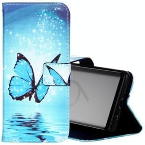 Voor Samsung Galaxy S9 Painting blauw vlinder patroon horizontaal Flip lederen hoesje met houder & opbergruimte voor pinpassen & portemonnee