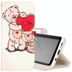 Voor Samsung Galaxy S9 Bear I Love You patroon horizontaal Flip lederen hoesje met houder & opbergruimte voor pinpassen & portemonnee