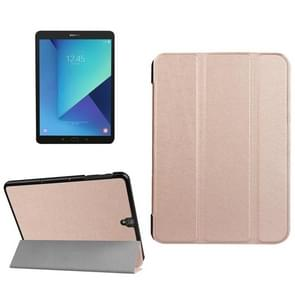 For Samsung Galaxy Tab S3 9.7 inch T820 / T825 Custer Texture Horizontal Flip Leather Case with 3-folding Holder(Rose Gold)
