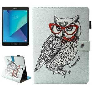 For Samsung Galaxy Tab S3 9.7 inch T820 / T825 Glasses Owl Pattern Horizontal Flip Leather Case with Holder & Wallet & Card Slots & Holder