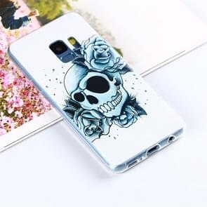 Voor Samsung Galaxy S9 Painting Skull en Chinese Rose Bloemen patroon TPU beschermings Back hoesje