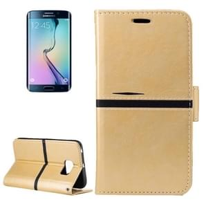 For Samsung Galaxy S6 Edge / G925 Crazy Horse Texture PU Leather Horizontal Flip Leather Case with Holder & Card Slots & Wallet & Photo Frame & Lanyard(Gold)
