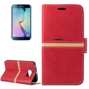 For Samsung Galaxy S6 Edge / G925 Crazy Horse Texture PU Leather Horizontal Flip Leather Case with Holder & Card Slots & Wallet & Photo Frame & Lanyard(Red)