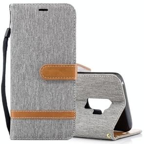 Voor Samsung Galaxy S9+ Denim structuur TPU + PU horizontaal Flip lederen hoesje met houder & opbergruimte voor pinpassen & portemonnee & Lanyard (grijs)