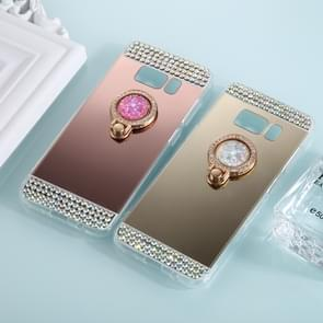 For Samsung Galaxy S8 Diamond Encrusted Electroplating Mirror Protective Cover Case with Ring Holder(Gold)
