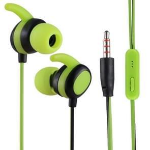 012 1.2m Stereo Sound In-ear Wire Control Sports Koptelefoon met Mic, Voor iPhone, iPad, Galaxy, Huawei, Xiaomi, LG, HTC en Other Smartphones(Green+Zwart)
