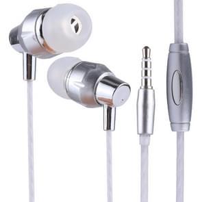 GTX-011 1.2m Bass Stereo Sound In-ear Wire Control Sports Koptelefoon met Mic, Voor iPhone, iPad, Galaxy, Huawei, Xiaomi, LG, HTC en Other Smartphones(zilver+(wit))