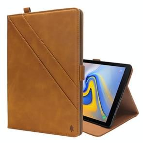 Horizontal Flip Double Holder Leather Case for Galaxy Tab A 10.5 T590 / T595, with Card Slots & Photo Frame & Pen Slot(Light Brown)