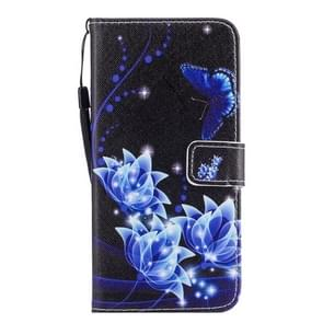 For Samsung Galaxy S8 Blue Flower and Butterfly Pattern Horizontal Flip Leather Case with Holder & Card Slots & Wallet