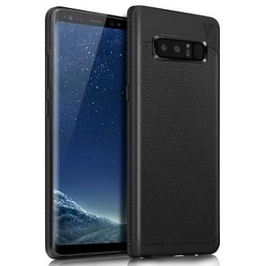 Lenuo for Samsung Galaxy Note 8 Litchi Texture Full Coverage PU Leather + TPU Protective Back Cover Soft Case(Black)