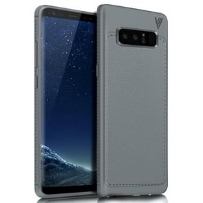 Lenuo for Samsung Galaxy Note 8 Litchi Texture Full Coverage PU Leather + TPU Protective Back Cover Soft Case(Grey)