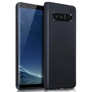 Lenuo for Samsung Galaxy Note 8 Litchi Texture Full Coverage PU Leather + TPU Protective Back Cover Soft Case(Navy Blue)