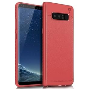 Lenuo for Samsung Galaxy Note 8 Litchi Texture Full Coverage PU Leather + TPU Protective Back Cover Soft Case(Red)