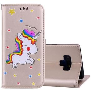 Glitter Powder Unicorn Pattern Horizontal Flip Leather Case for Galaxy Note9, with Holder & Wallet & Card Slots & Photo Frame(Gold)