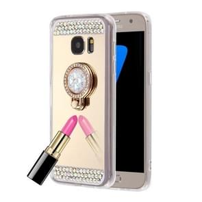 For Samsung Galaxy S6 Edge / G925 Diamond Encrusted Electroplating Mirror Protective Cover Case with Hidden Ring Holder (Gold)