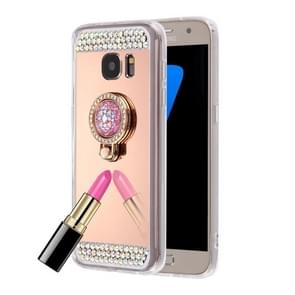 For Samsung Galaxy S6 Edge / G925 Diamond Encrusted Electroplating Mirror Protective Cover Case with Hidden Ring Holder (Rose Gold)