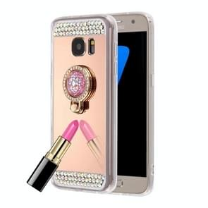 For Samsung Galaxy S6 Edge+ / G928 Diamond Encrusted Electroplating Mirror Protective Cover Case with Hidden Ring Holder (Rose Gold)