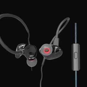 KZ ZS3 1.2m 3.5mm Hanging Ear Sports Design In-Ear Style Wire Control Koptelefoon, Voor iPhone, iPad, Galaxy, Huawei, Xiaomi, LG, HTC en Other Smart(zwart)