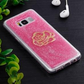 For Samsung Galaxy S8 + / G9550 Gold Flower Pattern TPU Protective Back Cover Case