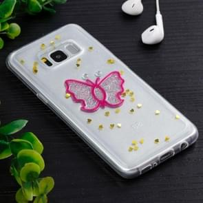 For Samsung Galaxy S8 + / G9550 Magenta Butterfly Pattern TPU Protective Back Cover Case