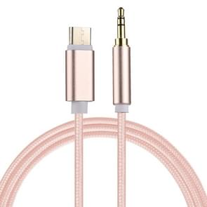 1m Weave Style USB-C / Type-C Male to 3.5mm Male Audio Cable for Samsung Galaxy S8 & S8 + / LG G6 / Huawei P10 & P10 Plus / Xiaomi Mi6 & Max 2 and other Smartphones(Pink)