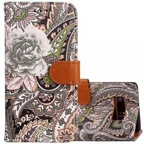 For Samsung Galaxy Note 8 Painting Abstract Flowers Pattern PU + TPU Horizontal Flip Leather Case with Holder & Card Slots & Wallet & Photo Frame & Lanyard(Black)
