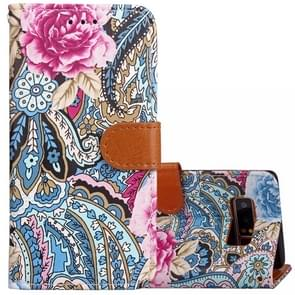For Samsung Galaxy Note 8 Painting Abstract Flowers Pattern PU + TPU Horizontal Flip Leather Case with Holder & Card Slots & Wallet & Photo Frame & Lanyard(Blue)