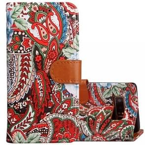 For Samsung Galaxy Note 8 Painting Abstract Flowers Pattern PU + TPU Horizontal Flip Leather Case with Holder & Card Slots & Wallet & Photo Frame & Lanyard(Red)