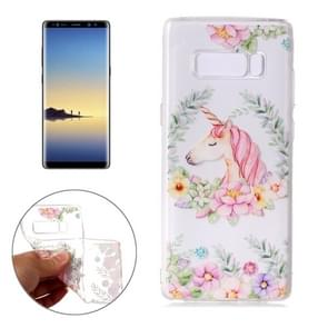 For Samsung Galaxy Note 8 Flower Unicorn Pattern TPU Protective Case