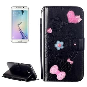 For Samsung Galaxy S6 Edge / G925 Heart Diamond Encrusted Flowers Embossing Horizontal Flip Leather Case with Holder & Card Slots & Wallet & Lanyard (Black)