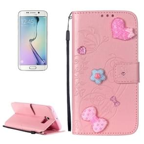 For Samsung Galaxy S6 Edge / G925 Heart Diamond Encrusted Flowers Embossing Horizontal Flip Leather Case with Holder & Card Slots & Wallet & Lanyard (Pink)