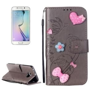 For Samsung Galaxy S6 Edge / G925 Heart Diamond Encrusted Flowers Embossing Horizontal Flip Leather Case with Holder & Card Slots & Wallet & Lanyard (Grey)