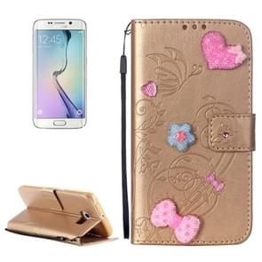 For Samsung Galaxy S6 Edge / G925 Heart Diamond Encrusted Flowers Embossing Horizontal Flip Leather Case with Holder & Card Slots & Wallet & Lanyard (Gold)