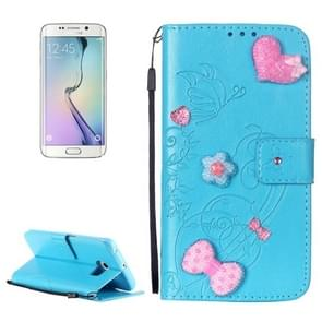 For Samsung Galaxy S6 Edge / G925 Heart Diamond Encrusted Flowers Embossing Horizontal Flip Leather Case with Holder & Card Slots & Wallet & Lanyard (Blue)