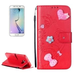 For Samsung Galaxy S6 Edge / G925 Heart Diamond Encrusted Flowers Embossing Horizontal Flip Leather Case with Holder & Card Slots & Wallet & Lanyard (Red)