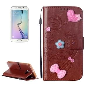 For Samsung Galaxy S6 Edge / G925 Heart Diamond Encrusted Flowers Embossing Horizontal Flip Leather Case with Holder & Card Slots & Wallet & Lanyard (Brown)