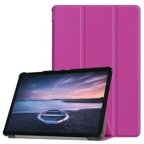Custer Texture Horizontal Flip PU Leather Case for Galaxy Tab S4 10.5 / T835, with Three-folding Holder & Sleep / Wake-up Function (Purple)