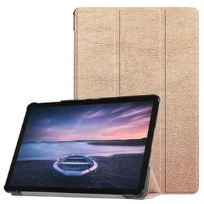 Custer Texture Horizontal Flip PU Leather Case for Galaxy Tab S4 10.5 / T835, with Three-folding Holder & Sleep / Wake-up Function (Rose Gold)