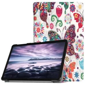 Colorful Butterflies Pattern Horizontal Flip PU Leather Case for Galaxy Tab A 10.5 / T595 & T590, with Three-folding Holder & Sleep / Wake-up Function