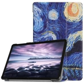 Starry Sky Pattern Horizontal Flip PU Leather Case for Galaxy Tab A 10.5 / T595 & T590, with Three-folding Holder & Sleep / Wake-up Function