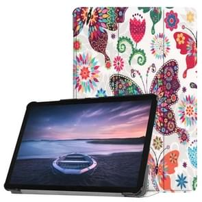 Colorful Butterflies Pattern Horizontal Flip PU Leather Case for Galaxy Tab S4 10.5 / T835, with Three-folding Holder & Sleep / Wake-up Function